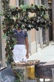 De hete verkoper van de Kastanjestraat in Rome royalty-vrije stock afbeeldingen