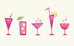De hete zomer drinkt en cocktailglazen - VECTOR stock illustratie