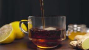 De hete zwarte thee wordt gegoten aan de glaskop, vitaminethee met citroen, gember en honing, drank tegen ziekte, hete dranken stock footage