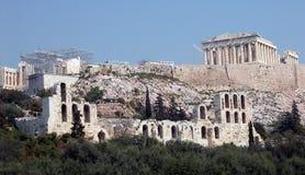 De heuvel Athene van de akropolis Stock Foto