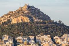 De Heuvel van Lycabettus, Athene, Griekenland Royalty-vrije Stock Afbeeldingen