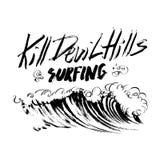 De Heuvels die van de dodenduivel de Van letters voorziende druk van de de schets handdrawn serigrafie van de borstelinkt surfen Royalty-vrije Stock Fotografie