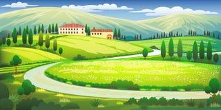 De heuvels van Toscanië clipart stock illustratie