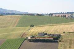 De heuvelslandschap van het land in Marche, Italië Royalty-vrije Stock Foto's