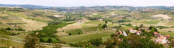 De heuvelswijngaarden van landschapslanghe Wijnbouw dichtbij Barolo, Piemonte, Itali?, Unesco-erfenis Barolo, Nebbiolo, royalty-vrije stock afbeelding