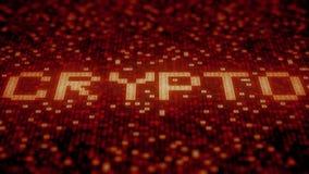De hexadecimale symbolen op een rode vertoning stellen CRYPTO woord samen Loopable 3D animatie stock illustratie