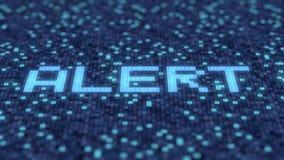 De hexadecimale symbolen op het blauw computerscherm stellen WAAKZAAM woord samen Loopable 3D animatie stock illustratie