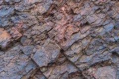 De hierro del mineral de la textura del cierre minerales naturales para arriba - en la mina Textura de piedra del cielo abierto E Fotos de archivo libres de regalías