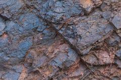 De hierro del mineral de la textura del cierre minerales naturales para arriba - en la mina Textura de piedra del cielo abierto E Imágenes de archivo libres de regalías
