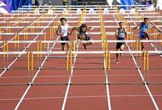 De Hindernissen van 110 Meters van mensen Royalty-vrije Stock Foto