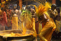 De Hindoese liefhebbers voeren het kurkuma het baden ritueel tijdens het jaarlijkse festival uit dat bij Amman tempel wordt gehou Stock Afbeelding