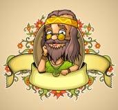 De hippie van de etiketvriendelijkheid Stock Foto