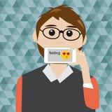De Hipstermens zegt het gevoel met slimme telefoon Royalty-vrije Stock Afbeelding