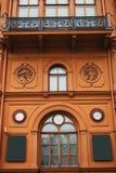 De historische bouw of gezicht in Riga, Letland of Republiek Letland Neoclassicism in architectuur of architecturale stijl stock afbeelding