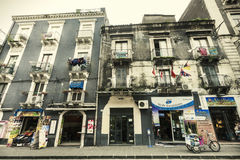 De historische bouw in historisch centrum van Catanië, Sicilië Italië Stock Foto