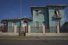 De historische bouw in de kuststad van Mejillones, Chili stock foto