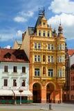 De historische bouw in Ottokar II vierkant Jovice van ÄŒeskébudä› Tsjechische Republiek royalty-vrije stock foto
