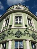 De historische bouw van het fragment van de de bodemmening van de stadsbank dicht omhoog Stock Fotografie