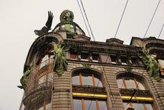 De historische bouw van het Zingerbedrijf op het Nevsky-vooruitzicht in heilige-Petersburg, Rusland stock fotografie