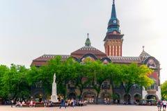 De historische bouw van stadhuis in Subotica, Servië Stock Foto's