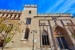 De historische bouw van Valencia La Lonja de Seda Stock Afbeeldingen