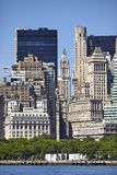 De historische en moderne architectuur van Manhattan, New York stock afbeelding