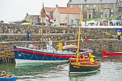 De historische haven in Portsoy Stock Foto's