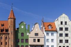 De historische huizen in de oude stad Stock Fotografie