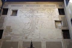 De historische Kaart van Ljubljana Stock Afbeeldingen