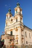 De historische kerk van Goddelijke Voorzienigheid in bielsko-BiaÅ 'a van de 18de eeuw Stock Fotografie