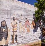 De historische Kleine Stad Canada van de Muurmuurschildering stock foto