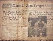 De historische Krantekoppen van de Oorlog van de Wereld Royalty-vrije Stock Afbeeldingen