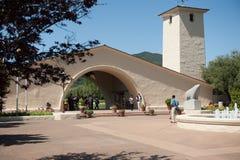 De historische Mondavi-Wijnmakerijbouw in de stad van Oakville, Californië Royalty-vrije Stock Foto