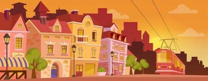 De historische straat van de beeldverhaalstad op zonsopgang of zonsondergang Oude stadsbanner met tram Vector illustratie Royalty-vrije Stock Afbeeldingen