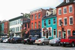 De historische straten van de rooilijnkei Fells binnen Punt, het M.D. van Baltimore Stock Fotografie
