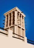 De historische Vectorillustratie Doubai, Verenigde Arabische Emi van de Windtoren Stock Foto