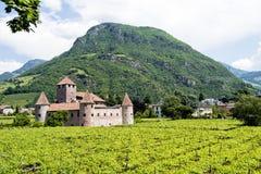De historiska härliga väggarna och de runda tornen av slotten Arkivfoto