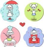 De hobbyactiviteit van het stickersmeisje het koken, het lopen, sport en het lezen - Vectorbeeldverhaalillustratie Royalty-vrije Stock Afbeelding