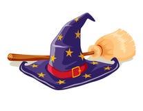 De hoed en de bezemsteel van de heks Royalty-vrije Stock Afbeeldingen