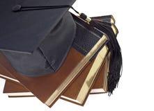 De Hoed en de Boeken van de graduatie Stock Fotografie