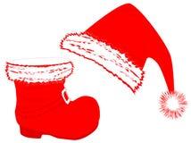 De hoed en de laars van de kerstman `s vector illustratie