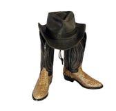De hoed en de laarzen van de cowboy Royalty-vrije Stock Afbeeldingen