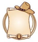 De Hoed en de Lasso van de cowboy Vector Amerikaanse illustratie Stock Afbeeldingen