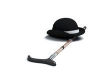 De hoed en de wandelstok van de derby Royalty-vrije Stock Afbeelding