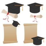 De hoed en het diploma van de graduatie Stock Foto