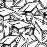 De hoed, pwn en het potlood van de schetsgraduatie Royalty-vrije Stock Afbeeldingen
