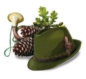 De hoed van de jacht, kegel, pijp en eiken bladeren Royalty-vrije Stock Afbeelding