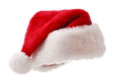 De hoed van de kerstman die op wit wordt geïsoleerds Royalty-vrije Stock Afbeeldingen