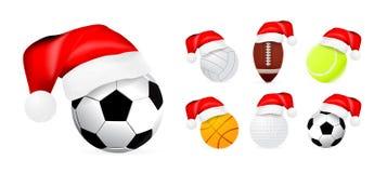De hoed van de kerstman op sportballen Royalty-vrije Stock Foto