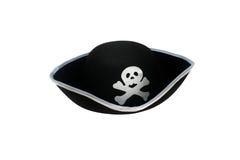 De hoed van de piraat met geïsoleerder schedel Stock Foto's